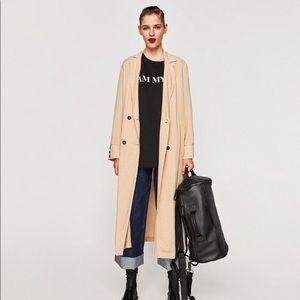 Zara Peach Long Lightweight Duster Trench Coat S/M